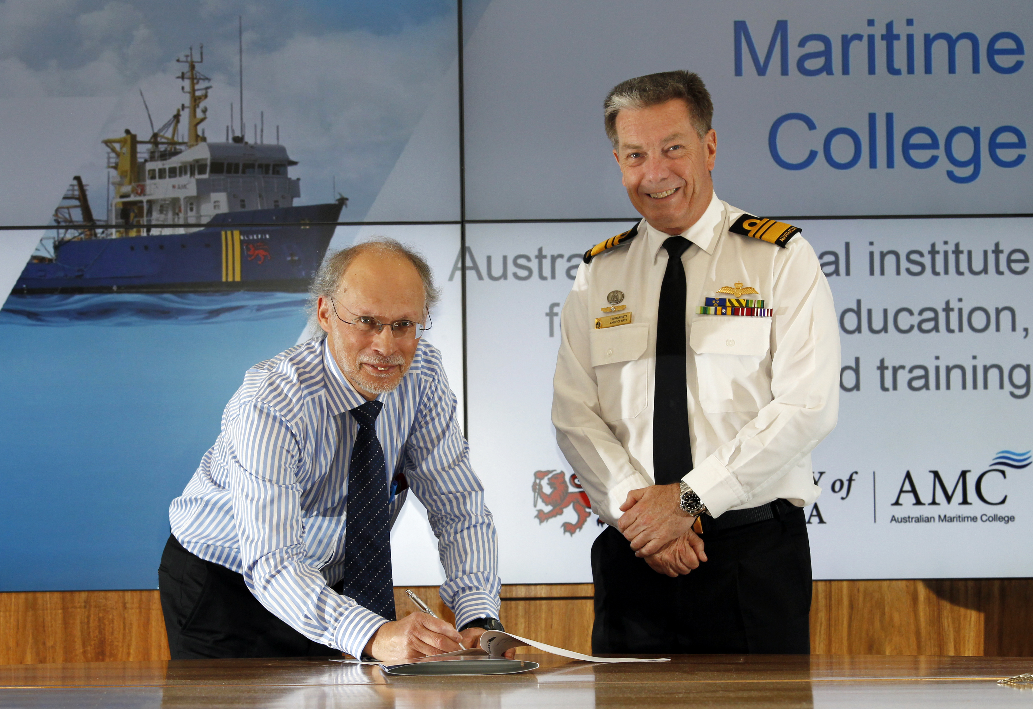 Professor Neil Bose with the Chief of Navy